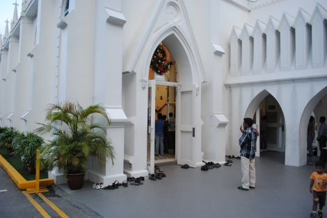 Shoes Outside Our Lady Lourdes Church