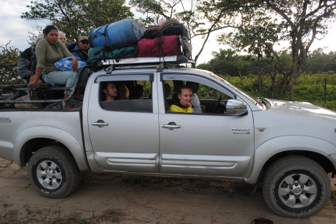 Eleven of us pack into the truck for a long ride up the coast