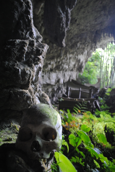 Looking out from the cave at Parinding