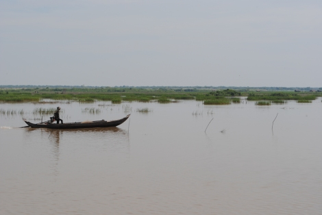 A boat is the only vehicle of travel along many parts many parts of the Tonle Sap