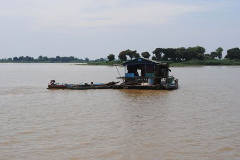 A houseboat on Tonle Sap River
