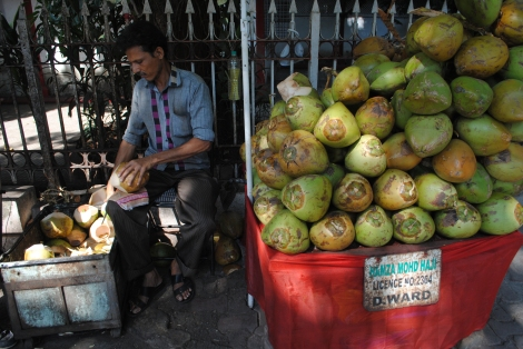 Coconuts are widely available in Mumbai and India. They are a great way to hydrate without plastic waste or worry of water contamination.