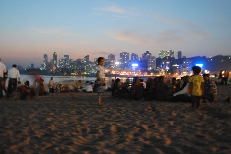 Children play at sunset on Chowpatty Beach