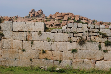 Stone wall near the Zenana Enclosure. One of the thousands of ruins scattered throughout the Hampi countryside