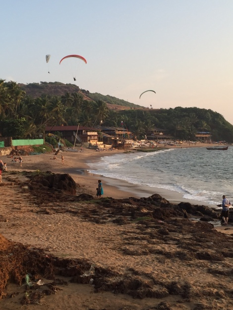 Paragliders at sunset on Anjuna Beach